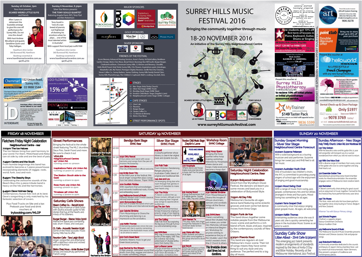 Surrey Hills Music Festival Program 2016